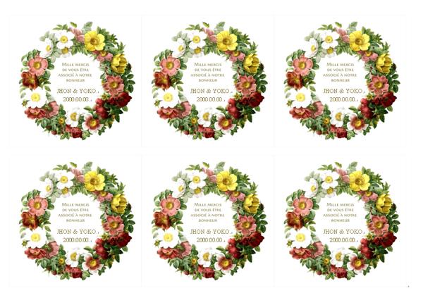 レトロなイラストが可愛い花リース ウエディングカード素材